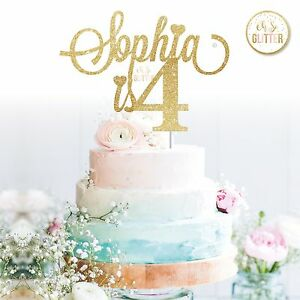 Name Cake Topper Four Glitter Custom Personalised Cake Topper Fourth