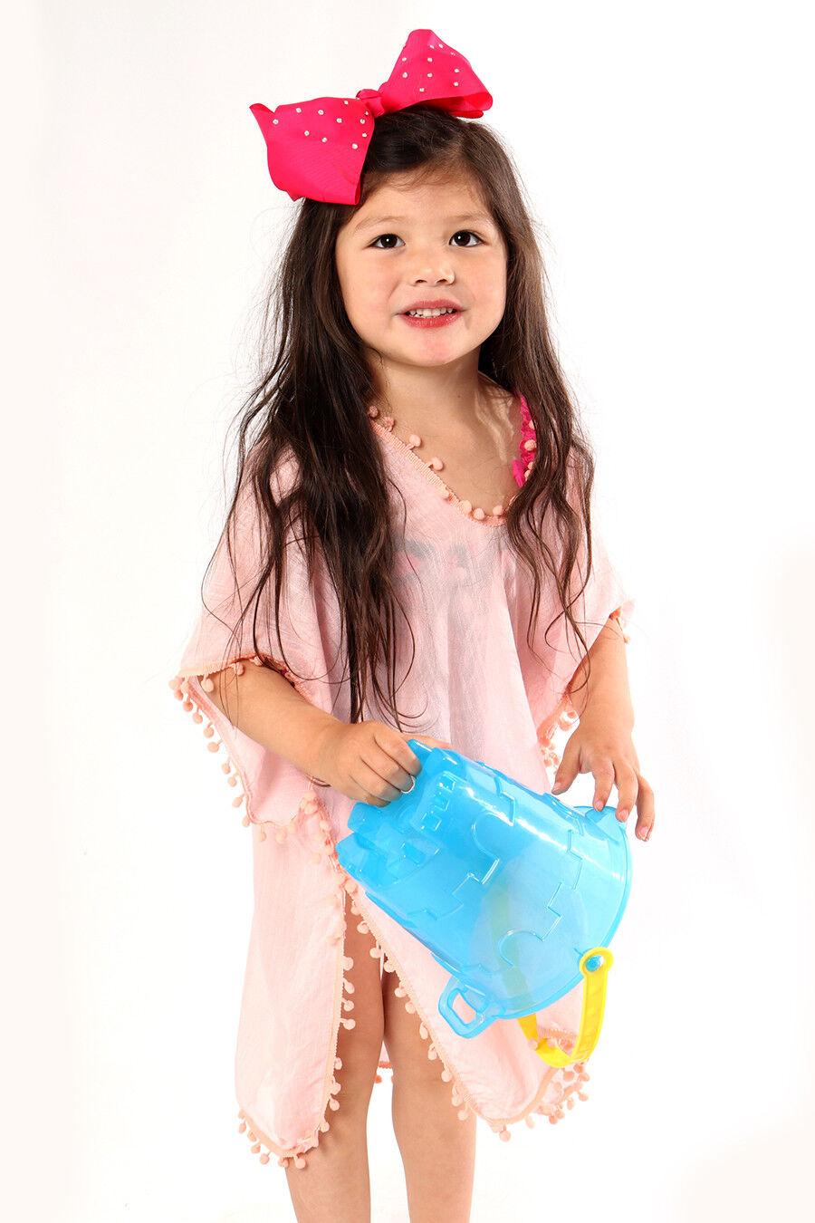 bc2a85c404 UK Kids Baby Girls Dress PomPom Beach Dresses Sundress Swimwear ...