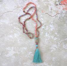 NEW Anthropologie ROSE Quartz TURQUOISE Stone Long TASSEL Mala Prayer Necklace