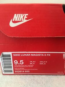 Nike-Lunar-Magista-II-FK-FC-Mens-852614-600-Red-Flyknit-Shoes-Size-9-5