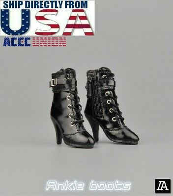 "1//6 Leather Ankle Boots A For 12/"" PHICEN Hot Toys TBLeague Female Figure U.S.A."