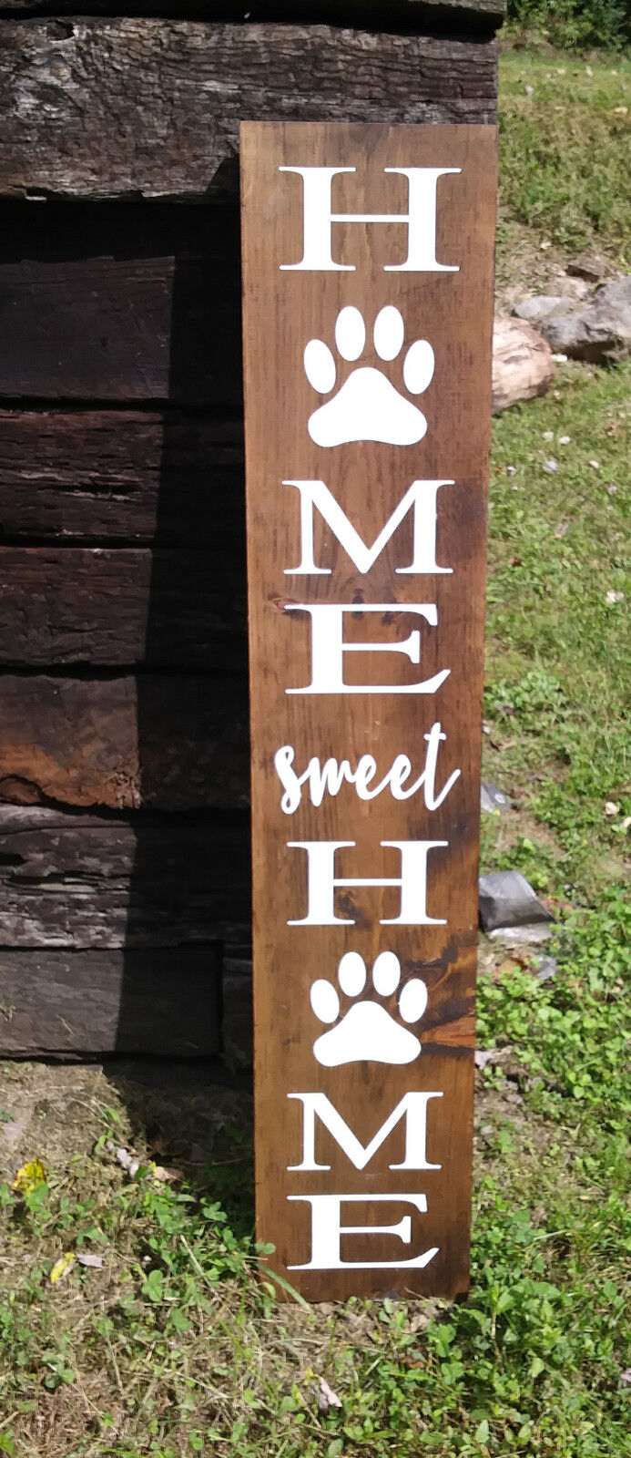 LARGE HOME SWEET HOME PAW WOOD SIGN Weiß INDOOR HOME DECOR WOOD GIFT 48 IN