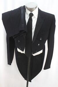 Vintage 50s schwarz 2pc Frack Smoking Anzug Cutaway Morning Jacke Knopfleiste 38 R