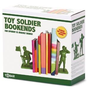 TOY SOLDIER BOOKENDS - 27447 BOOK ENDS ARMY STAND UPRIGHT CLASSIC RETRO NOVELTY