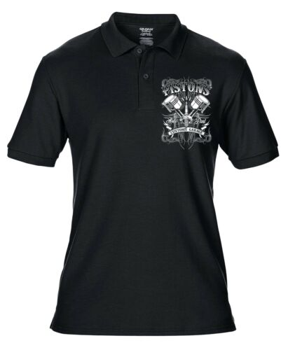 Motard Moto Cafe Racer mécanicien Men/'s polo shirt Pistons Garage personnalisé