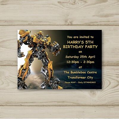 Bumblebee Transformers Children Birthday Party Invitations Personalised