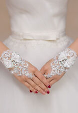 White Enchanting Lace Bow Diamond Flower Gloves wedding Bridal Holy Communion