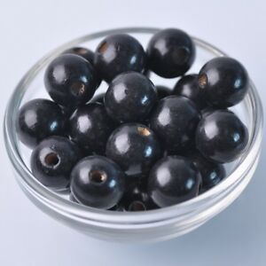 40pcs-16mm-Black-Round-Natural-Wood-Loose-Spacer-Beads-Wholesale-Bulk-Lot