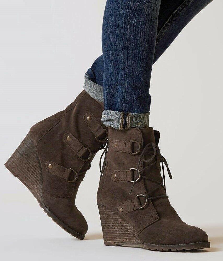 Diba True mejor ahora marróns de gamuza scnürzapatos Designer tacón de cuña botas
