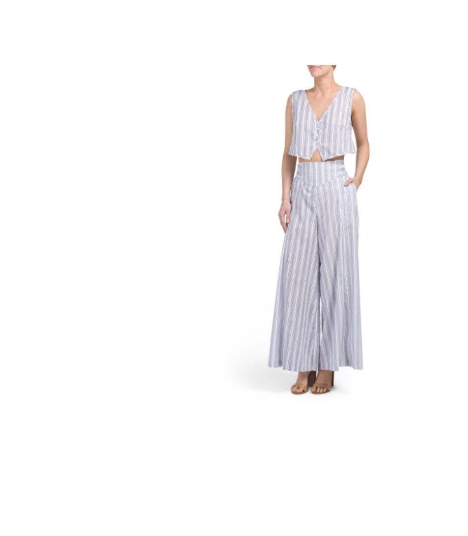 Jaase Harlow Set bluee Stripe Summer Top & Pants JS20171123 Sz Medium New 2 Piece