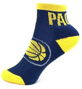 Indiana Pacers Basketball Yellow and Navy Youth Quarter Socks Stripe Down Foot