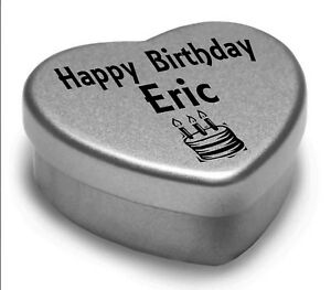 Happy Birthday Eric Mini Heart Tin Gift Present For Eric With