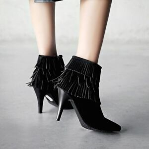 Women-039-s-Ladies-Stiletto-Heels-Ankle-Boots-Tassel-Side-Zipper-Pointy-Toe-Shoes