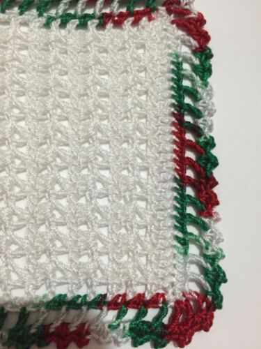 SALE!!!  White And Very Merry Crocheted Miniature Dollhouse Blanket Afghan Throw
