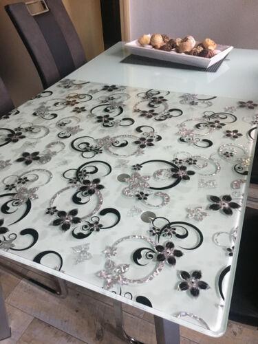 Transparente Tischfolie Schutzfolie mit Muster RUND Glasklar Weich-PVC 2mm