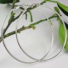 70mm Dia Large Sterling Silver Plated Women Fashion Jewelry Hoop Dangle Earrings
