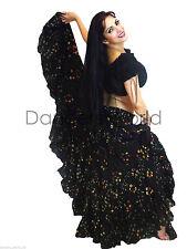 "Black Polka Dot Tribal gypsy 25 yards  belly dance folk cotton skirt ATS L37"""