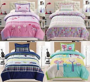 2 Pc Twin Size Childrens Comforter Set Butterfly Floral