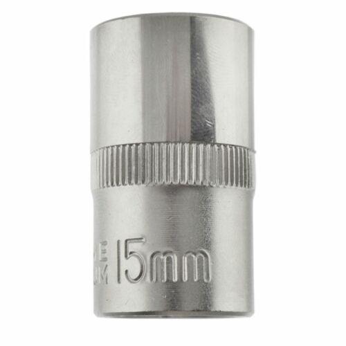 "15mm 1//2/"" Dr Socket Super Lock Metric Shallow CRV Knurl Grip 6 Point TE799"