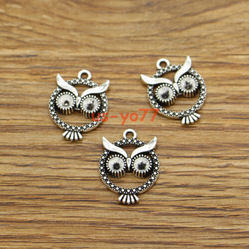 30 Wise Owl Charms Flying Bird Animal Branch Charm Antique Silver15x20 3332
