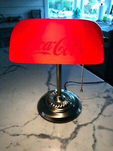 Vintage COCA COLA Banker's Desk Lamp w/ Red Glass Shade PULL CHAIN~ WORKS!!!