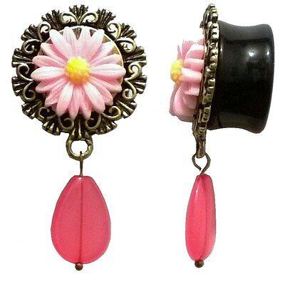 Pair of Acrylic Ear Plugs - Saddle Fit Ear Gauges Plugs - Pink Flower Pendant