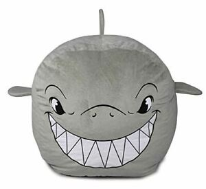 Bins & Things Shark Bean Bag Chair Cover for Kids Ultra-Soft and Fluffy Fur-Like