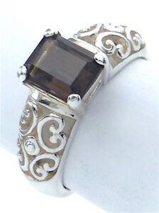 Vintage-Women-Ladies-Size-7-75-US-Topaz-Stone-Sterling-Silver-925-Ring-G574