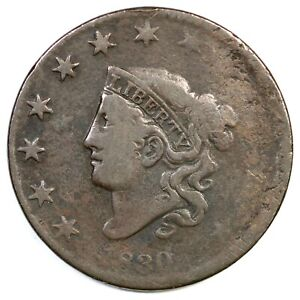 1830-N-11-R-5-Matron-or-Coronet-Head-Large-Cent-Coin-1c