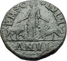 PHILIP I the ARAB 244AD Viminacium BULL LION Legion Sestertius Roman Coin i58086