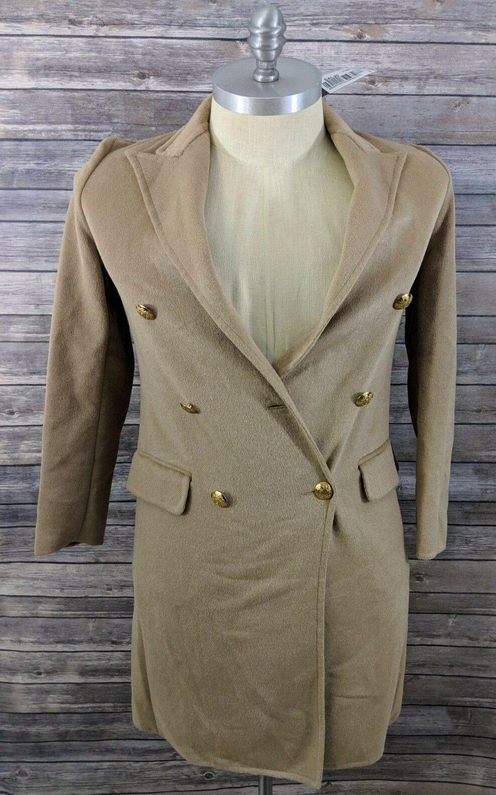 New Lauren Ralph Lauren Womens Coat Double Faced Camel Wool Blend 4 MSRP  545
