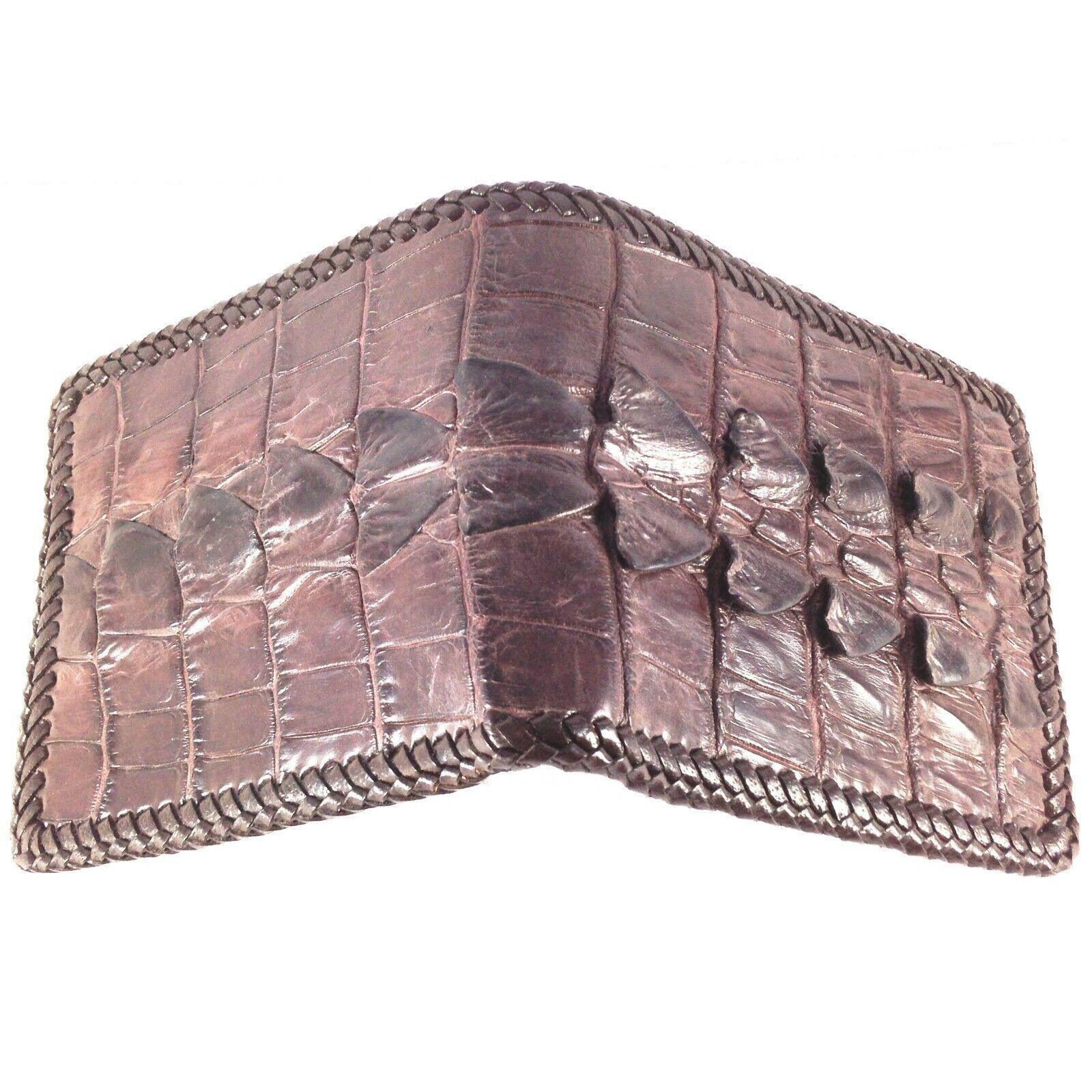 Dark BrownGenuine Crocodile Leather skin Men Bifold Wallet Handmade 25