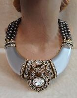 Heidi Daus Signature Accent Resin Collar Necklace White Clear