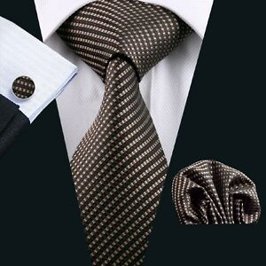 Classic-Men-039-s-Silk-Tie-Tan-Striped-Hanky-Cufflinks-Set-Necktie-Business-SN-663