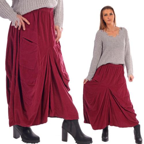 Maxi jupe coton feincord optique avec taille élastique et poches avant Onesize 36-42