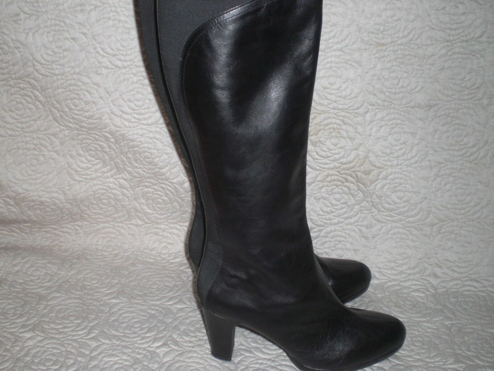 ELLEN TRACY KATRINA BLACK LEATHER  WILD CALF BOOTS  SIZE 11 M