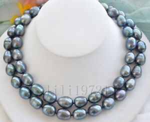 Beautiful-9-11mm-Natural-Black-Freshwater-baroque-pearl-necklace-34-034