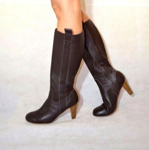 Wide Knee Size Leather Real Women 5 High Block 6 Heel M Boots Calf Brown amp;s A7q5w8