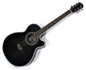 oscar schmidt og10ce cutaway acoustic electric guitar flame transparent black 801128503202 ebay. Black Bedroom Furniture Sets. Home Design Ideas