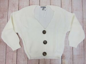 ASOS-Women-039-s-DESIGN-Petite-Cardigan-with-Chunky-Buttons-US-2-White-NWT