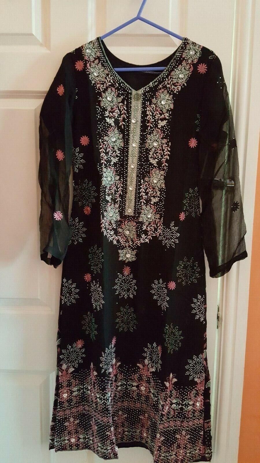 Pakistani Indian Shalwar kameez Asian suit Party Dress Black Size Small