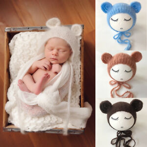 Baby Newborn Mohair knitting Bonnet Hat Photo Photography Prop Cap Outfits