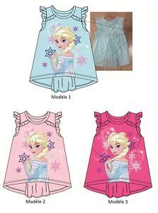 T-shirt-debardeur-LA-REINE-DES-NEIGES-blouse-tunique-enfant-NEUF-3-8-ans-Elsa