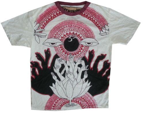 c Men T Shirt short sleeve white 100/% cotton graphic Lotus Buddha Om EYE  M WEED