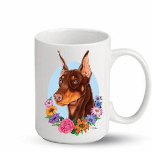 Doberman Red Cropped Ceramic 15oz Coffee Mug Ebay