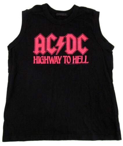 AC//DC Crop Top T-shirt Highway To Hell CHASER Tank Top Tee JUNIORS Women Black