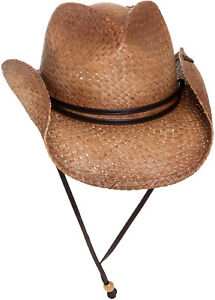 PETER-GRIMM-NEW-Mens-Tea-Stained-Straw-Round-Up-Cowboy-Hat-w-Leather-Chin-Strap