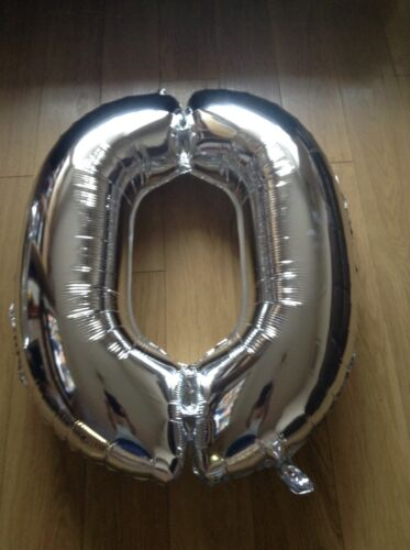 "Large 34/"" Foil Number Balloon /"" 0 /""  Metallic Silver Party Birthday Anniversary"