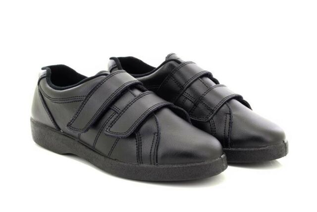 5bb3de4edbf Ladies Boulevard NAPOLI Black Leather Wide Fit Touch Fastening Trainer Shoes