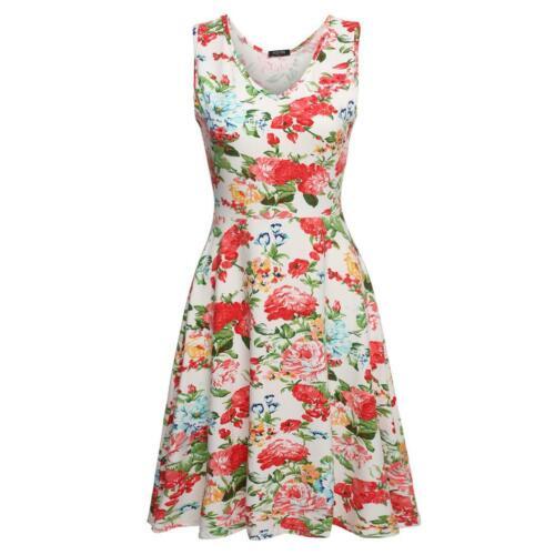 ACEVOG Frauen Casual Fit und Floral ärmelloses Kleid Sommerkleid M9